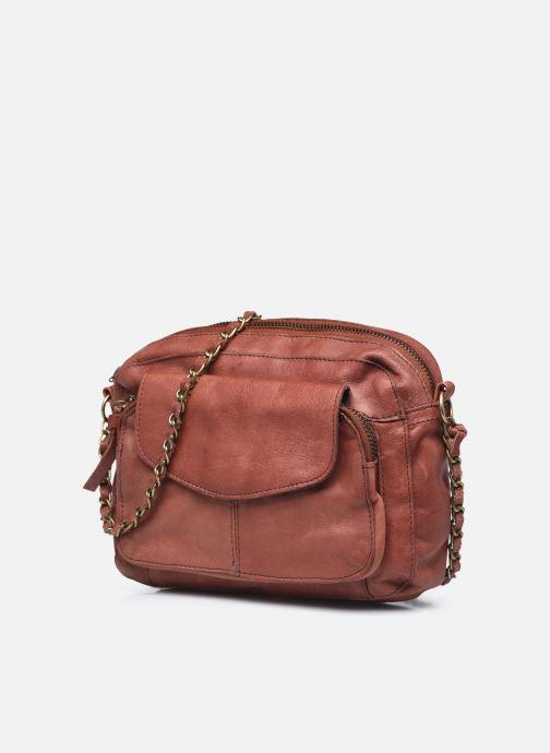 Handtaschen Pieces Naina Leather Crossover orange schuhe getragen