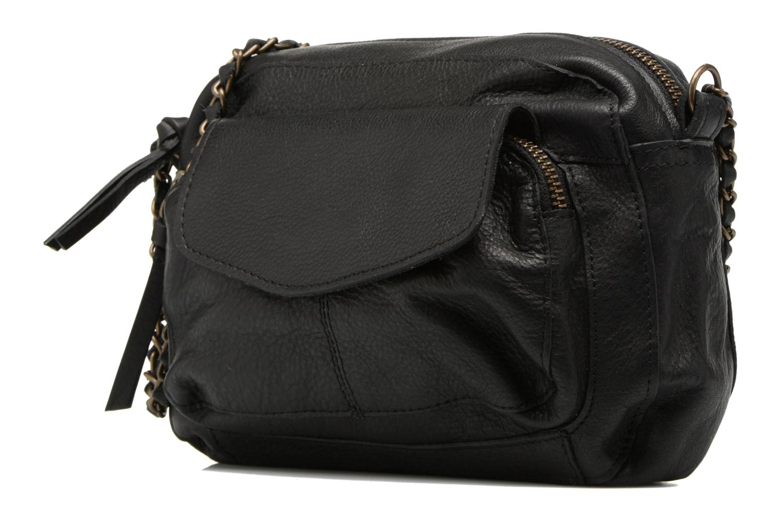 Handbags Pieces Naina Leather Crossover Black model view