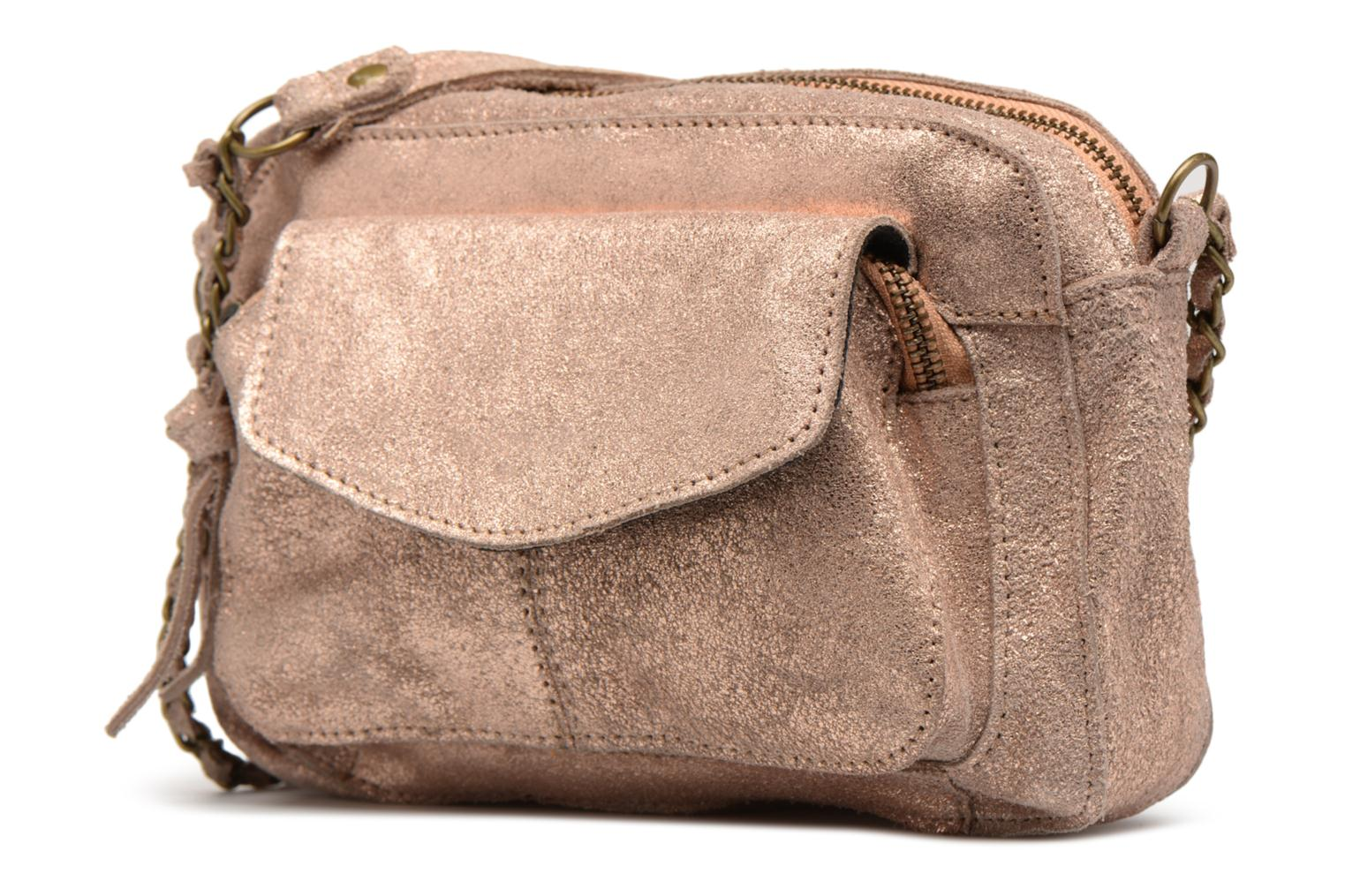 Handbags Pieces Naina Leather Crossover Pink model view