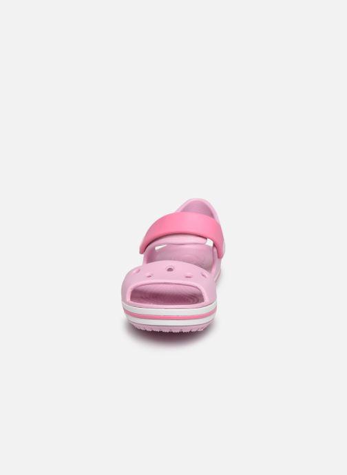 Sandalen Crocs Crocband Sandal Kids rosa schuhe getragen