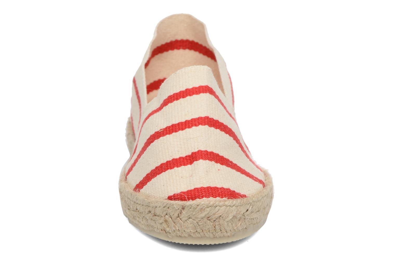 Espadrilles La maison de l'espadrille Sabline Rayure E Rouge vue portées chaussures