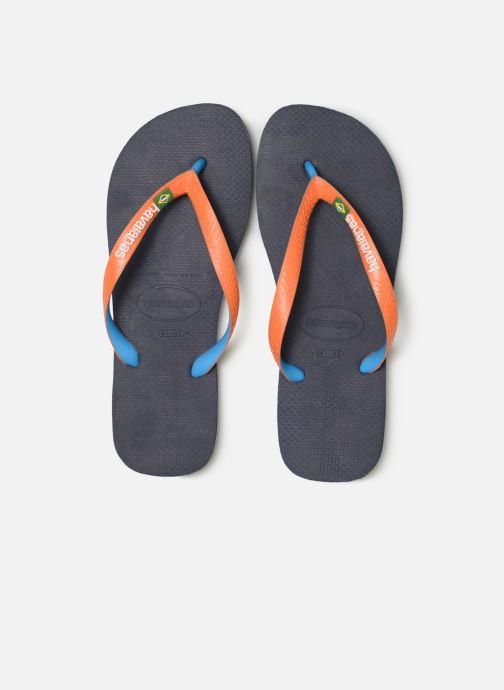 Tongs Havaianas Brasil Mix H Bleu vue portées chaussures