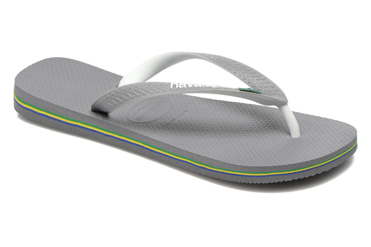 Tongs Havaianas Brasil Mix H Gris vue détail/paire