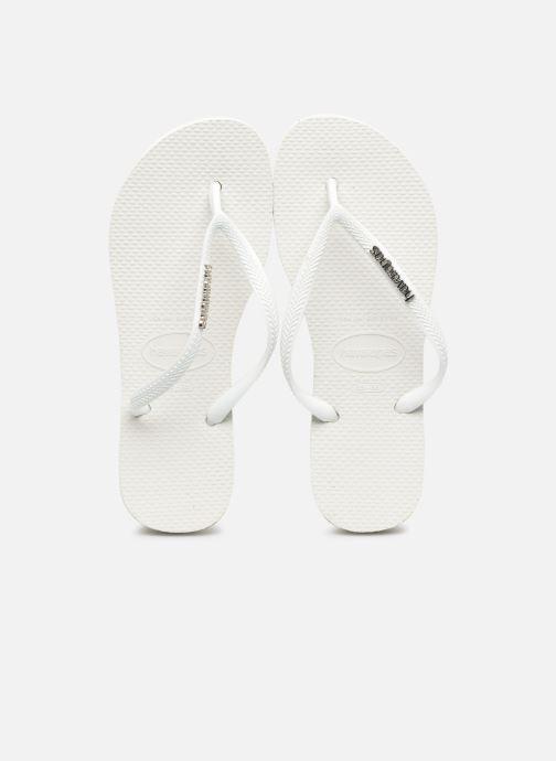 Zehensandalen Havaianas Slim Logo Metallic weiß schuhe getragen