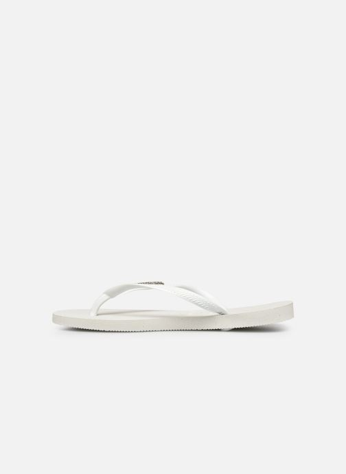 Tongs Havaianas Slim Logo Metallic Blanc vue face