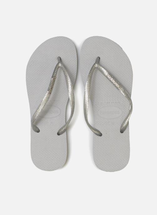 Flip flops Havaianas Slim Logo Metallic Grey model view