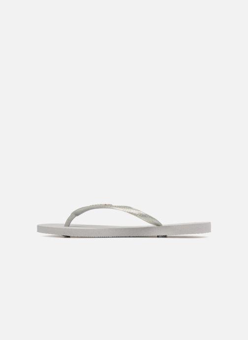 Flip flops Havaianas Slim Logo Metallic Grey front view
