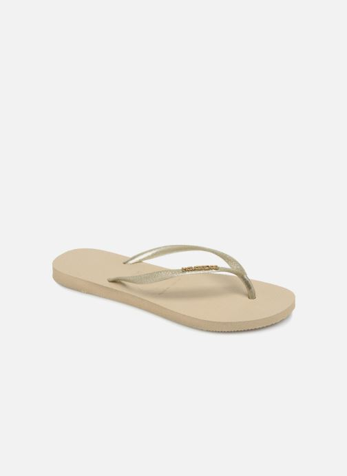 Tongs Havaianas Slim Logo Metallic Beige vue détail/paire