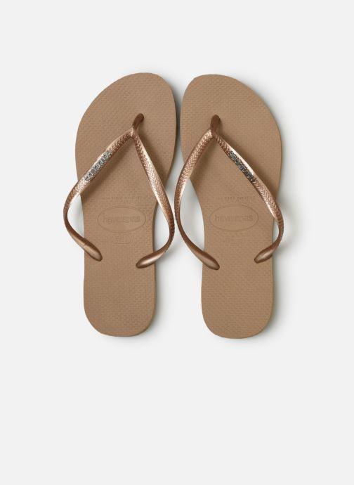 Tongs Havaianas Slim Logo Metallic Rose vue portées chaussures