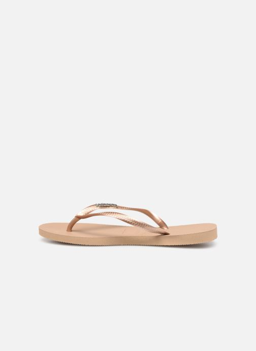 Tongs Havaianas Slim Logo Metallic Rose vue face