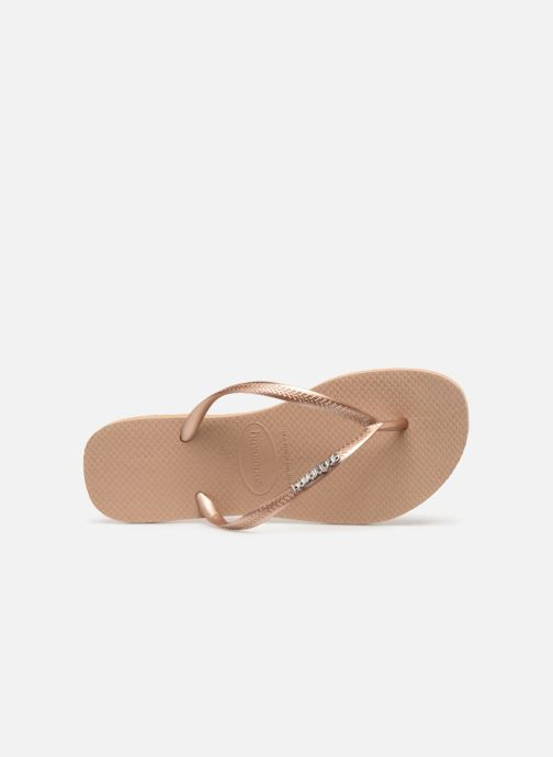 Tongs Havaianas Slim Logo Metallic Rose vue gauche