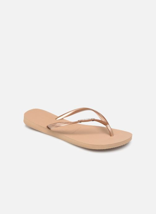 Tongs Havaianas Slim Logo Metallic Rose vue détail/paire