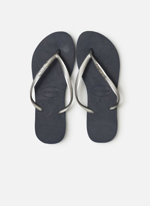 Tongs Havaianas Slim Logo Metallic Bleu vue portées chaussures