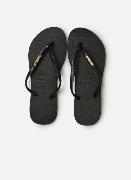 Tongs Havaianas Slim Logo Metallic Noir vue portées chaussures