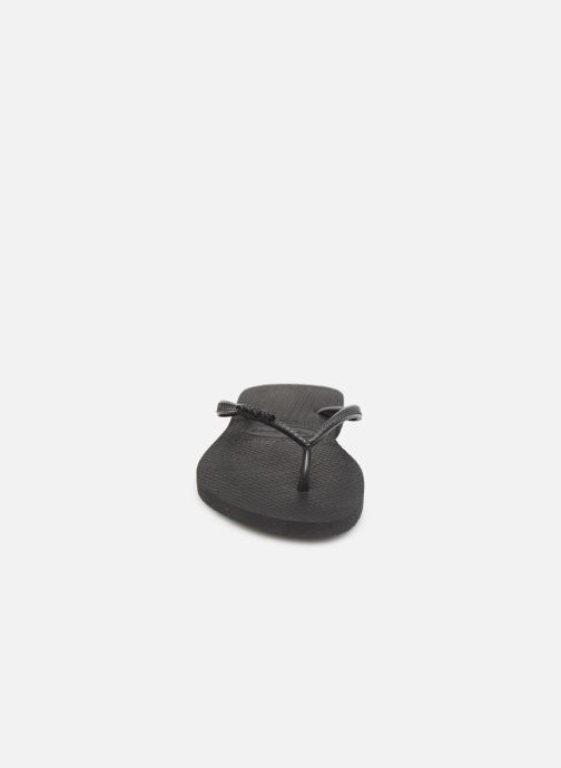 Chanclas Havaianas Slim Logo Metallic Negro vista del modelo