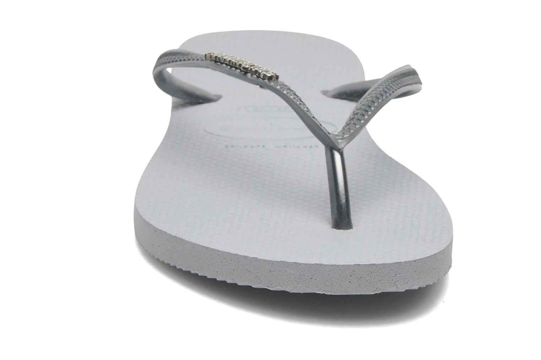 Tongs Havaianas Slim Logo Metallic Gris vue portées chaussures