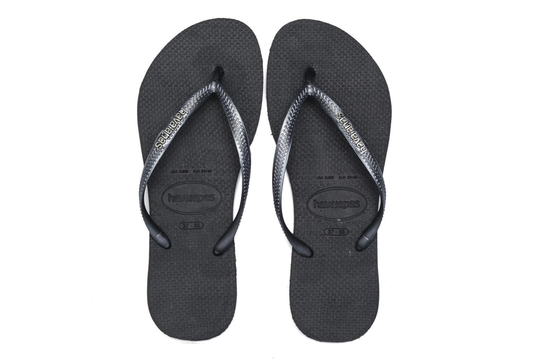 Flip flops & klipklapper Havaianas Slim Logo Metallic Sort 3/4 billede