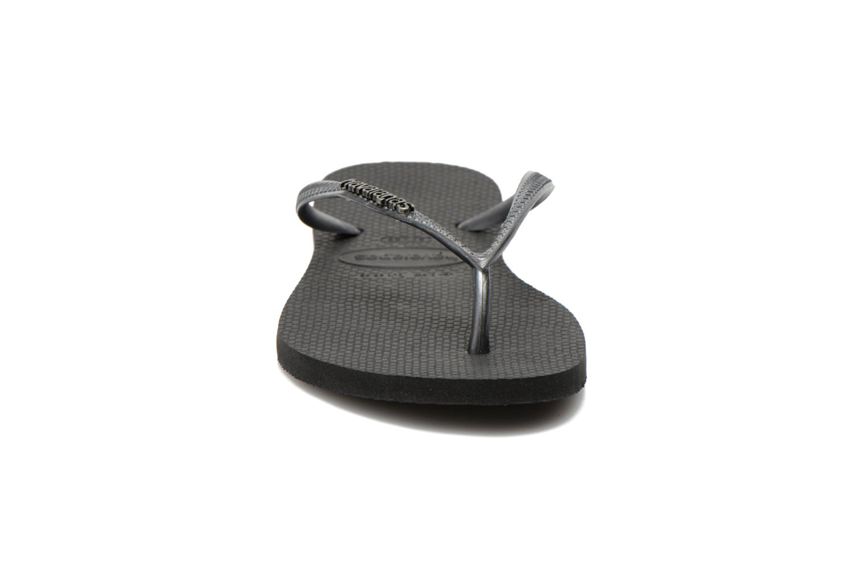 Flip flops & klipklapper Havaianas Slim Logo Metallic Sort se skoene på