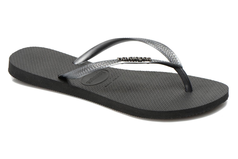 Flip flops & klipklapper Havaianas Slim Logo Metallic Sort detaljeret billede af skoene