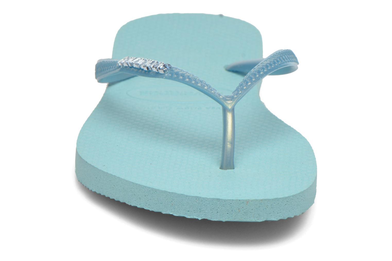 Flip flops Havaianas Slim Logo Metallic Blue model view
