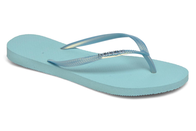 Flip flops Havaianas Slim Logo Metallic Blue detailed view/ Pair view