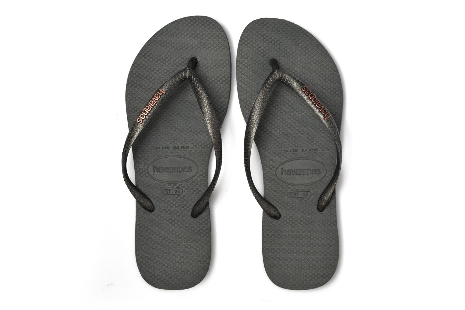 Flip flops Havaianas Slim Logo Metallic Green 3/4 view