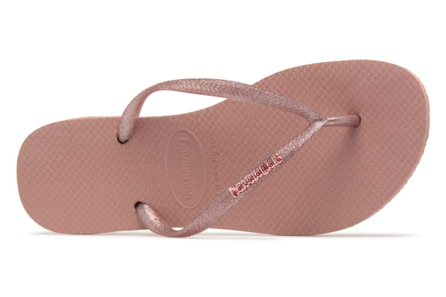 Flip flops Havaianas Slim Logo Metallic Pink view from the left