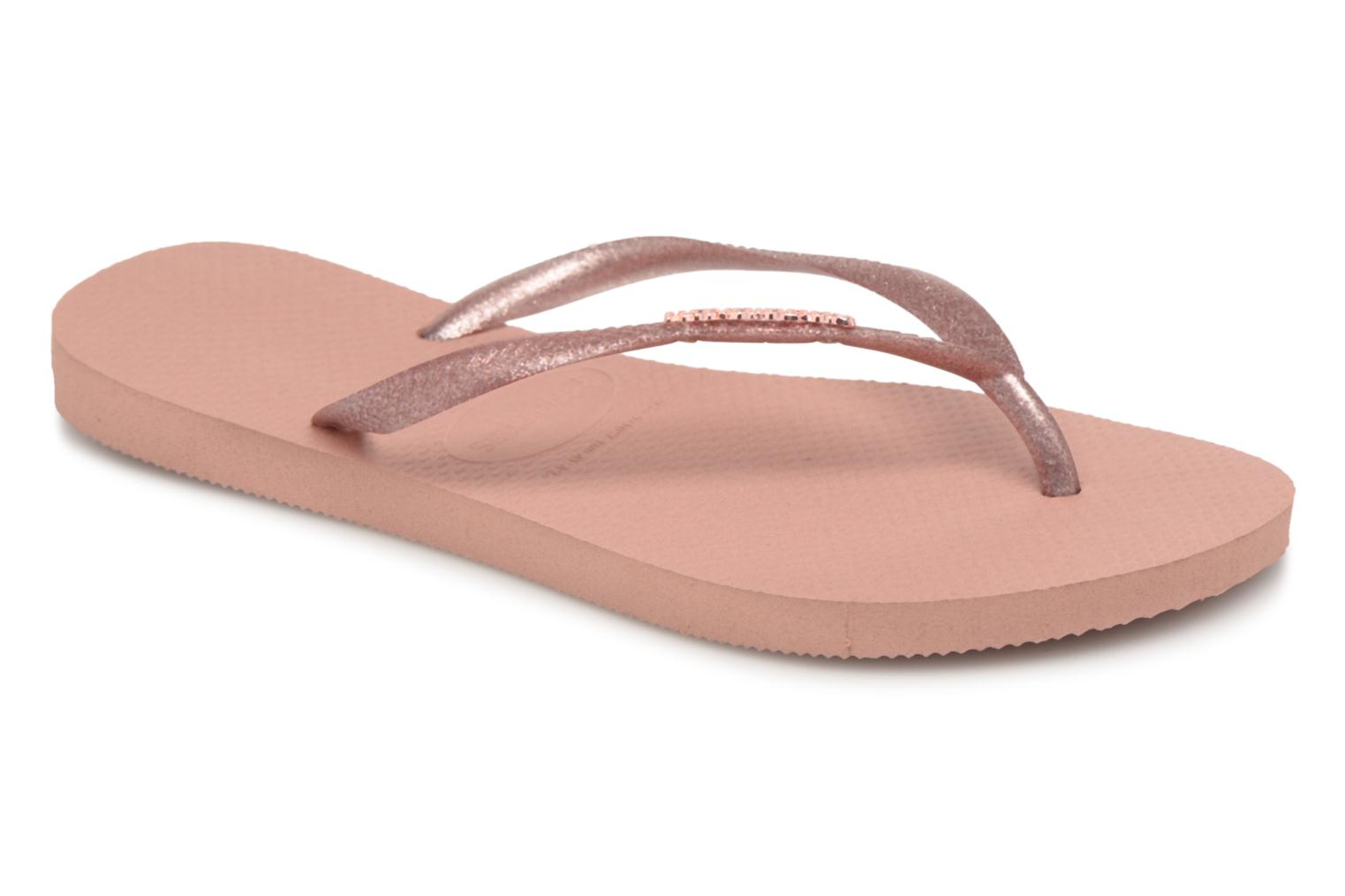 Flip flops Havaianas Slim Logo Metallic Pink detailed view/ Pair view