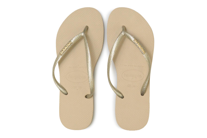 Tongs Havaianas Slim Logo Metallic Beige vue portées chaussures