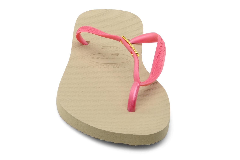 Flip flops Havaianas Slim Logo Metallic Pink model view