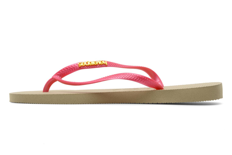 Flip flops Havaianas Slim Logo Metallic Pink front view