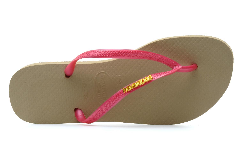 Flip flops Havaianas Slim Logo Metallic Pink view from the left