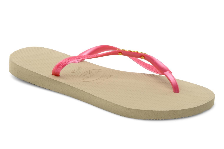 Flip flops Havaianas Slim Logo Metallic Pink detailed view/ Pair view