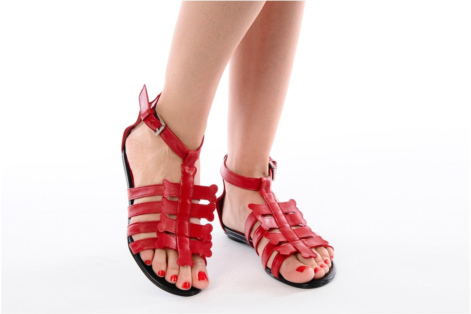 Sandals Mellow Yellow Leskelet Red view from underneath / model view