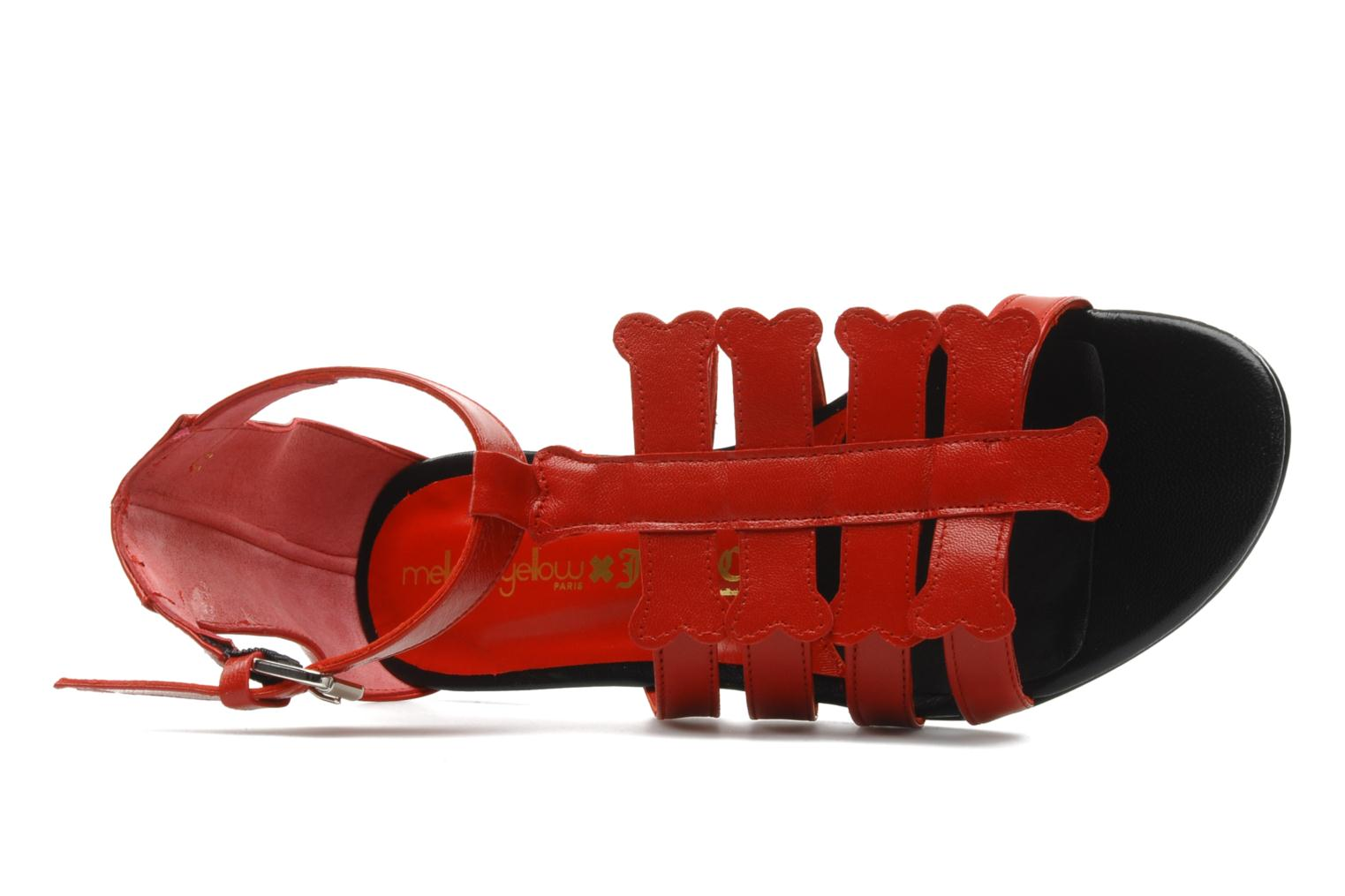 Sandals Mellow Yellow Leskelet Red view from the left