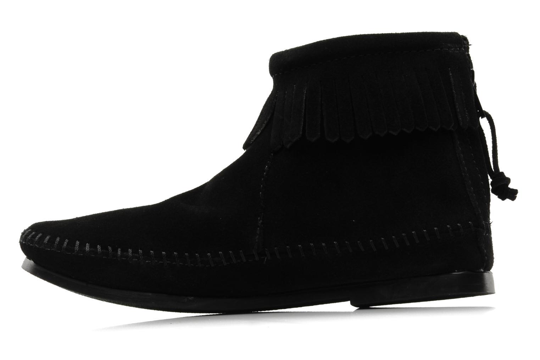 Bottines et boots Minnetonka BACK ZIPPER BT Noir vue face