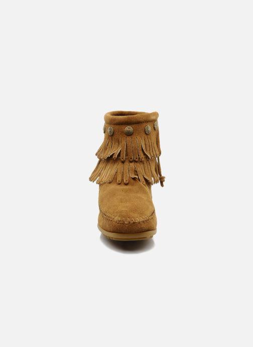 Stiefeletten & Boots Minnetonka DOUBLE FRINGE BT braun schuhe getragen