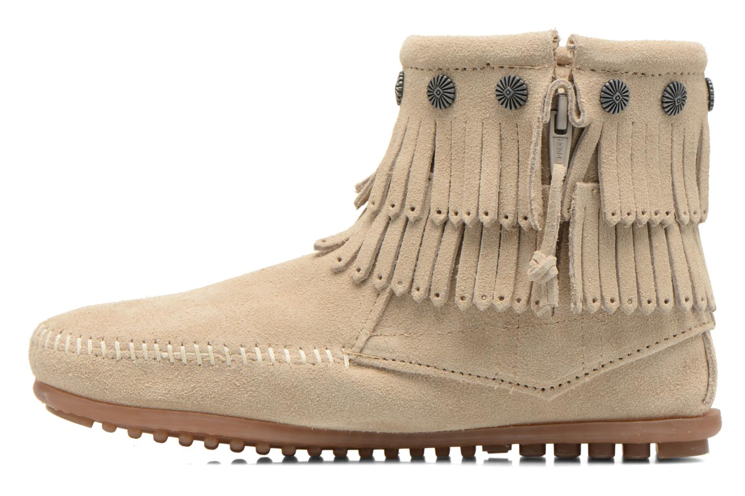 Bottines et boots Minnetonka DOUBLE FRINGE BT Beige vue face