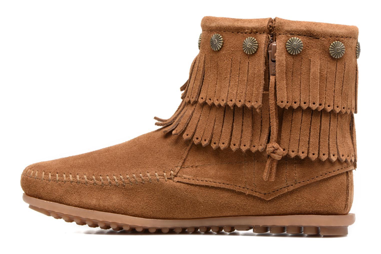 Bottines et boots Minnetonka DOUBLE FRINGE BT Marron vue face