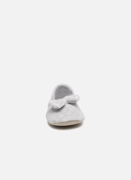 Velours Grand Nœud Gris Chaussons Isotoner Ballerine Clair IYWE9D2H