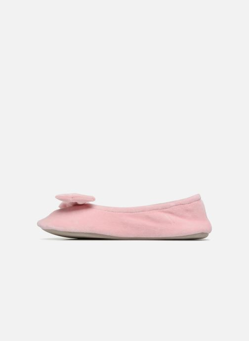 Chaussons Isotoner Ballerine velours grand nœud Rose vue face