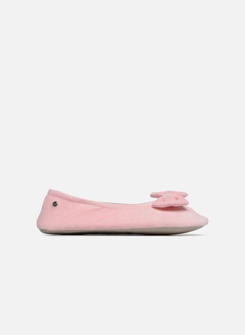 Pantoffels Isotoner Ballerine velours grand nœud Roze achterkant