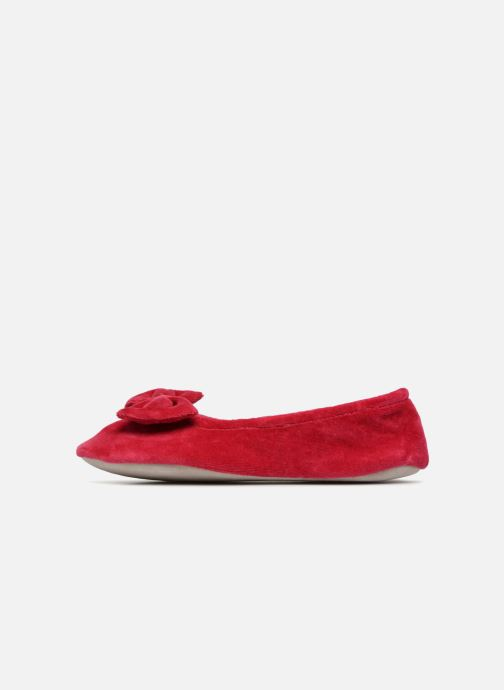 Chaussons Isotoner Ballerine velours grand nœud Rouge vue face