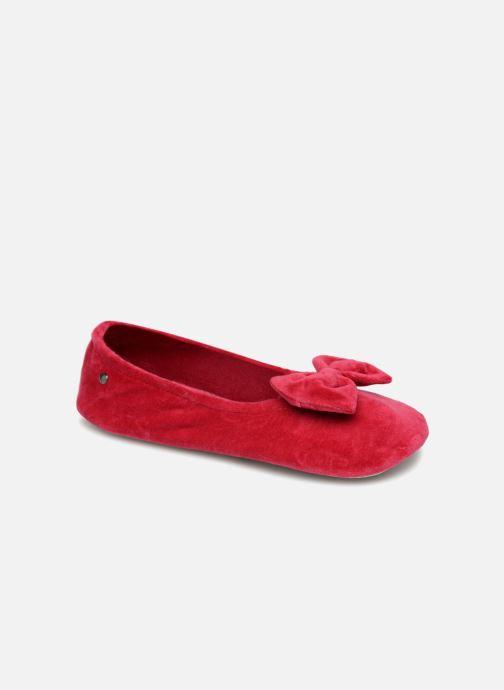 Chaussons Isotoner Ballerine velours grand nœud Rouge vue détail/paire