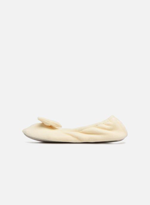 Hausschuhe Isotoner Ballerine velours grand nœud beige ansicht von vorne