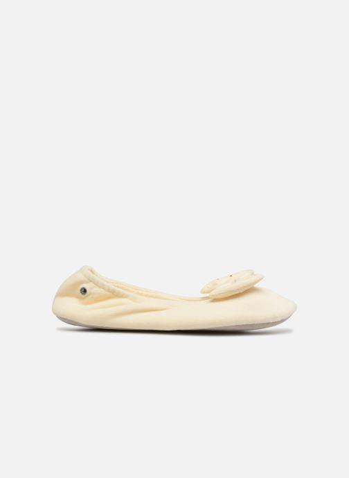 Pantoffels Isotoner Ballerine velours grand nœud Beige achterkant