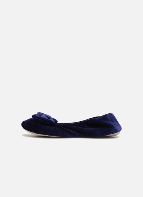 Chaussons Isotoner Ballerine velours grand nœud Bleu vue face