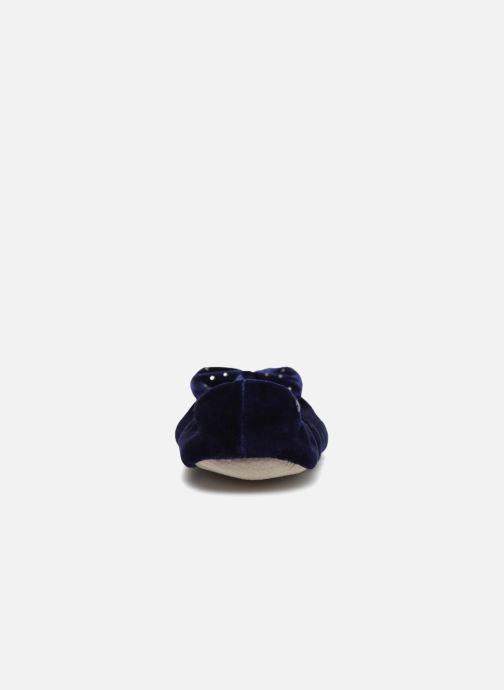 Chaussons Isotoner Ballerine velours grand nœud Bleu vue droite