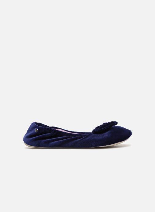 Chaussons Isotoner Ballerine velours grand nœud Bleu vue derrière