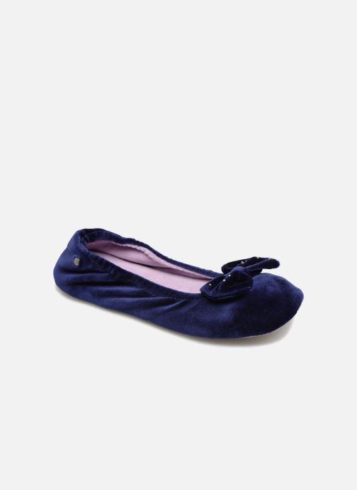 Chaussons Isotoner Ballerine velours grand nœud Bleu vue détail/paire